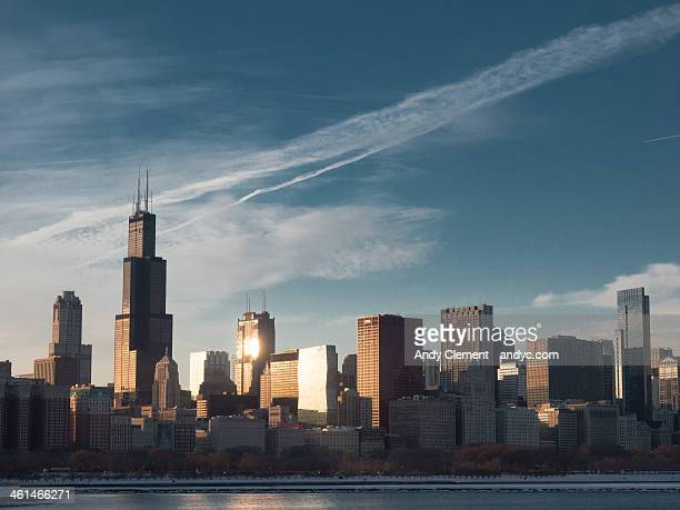 chicago skyline - andy clement stock pictures, royalty-free photos & images
