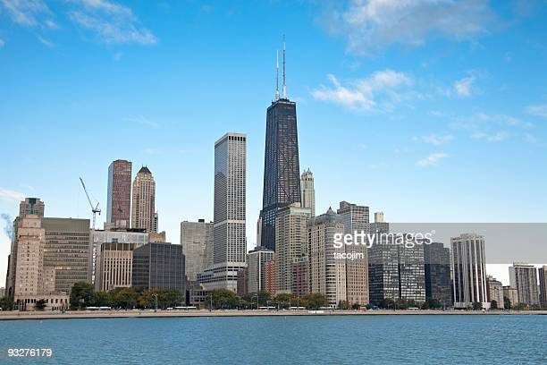 chicago skyline - hancock building chicago stock photos and pictures