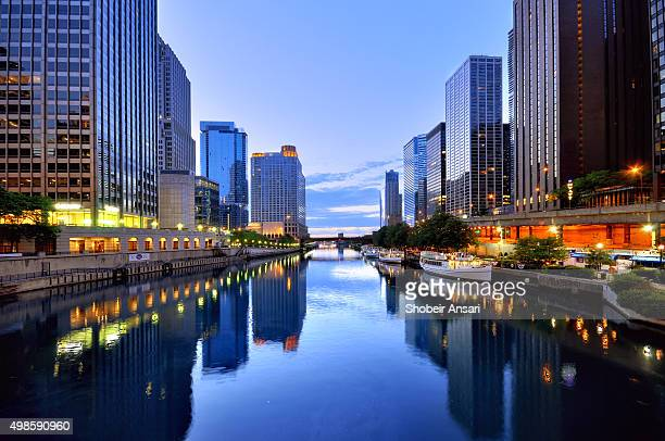 Chicago Skyline reflected in Chicago River