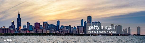 Chicago skyline sunset huge hrd panorama from Adler planetarium