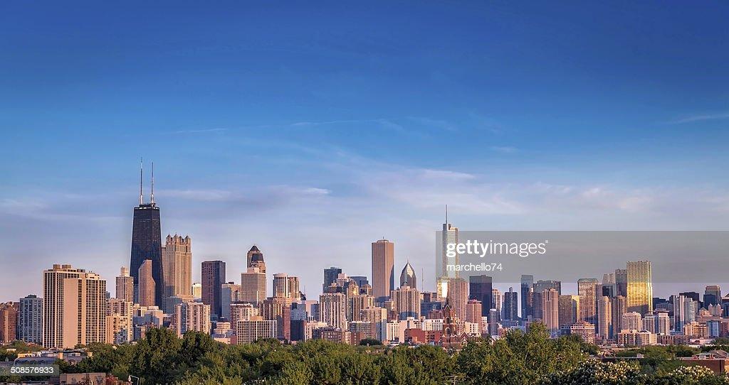Chicago skyline sunset panorama : Stock Photo