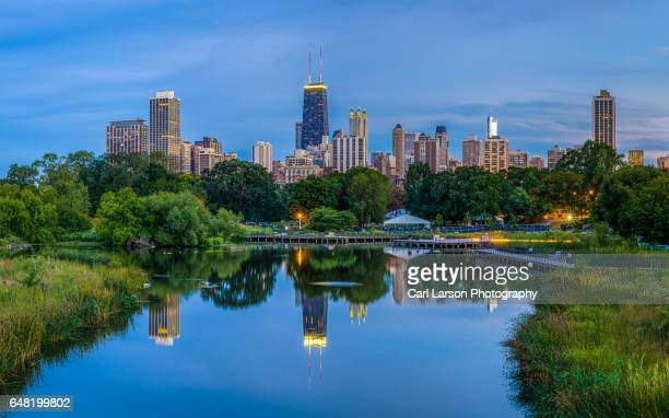 chicago skyline viewed from lincoln park - chicago illinois stock pictures, royalty-free photos & images