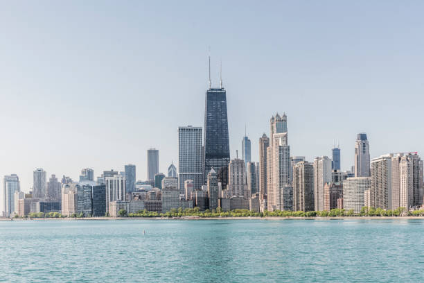 Chicago Skyline Lake Michigan Against - Fine Art prints