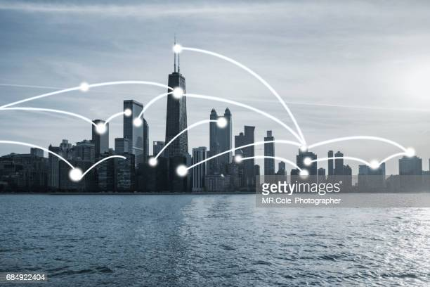 chicago skyline with network connetion concept