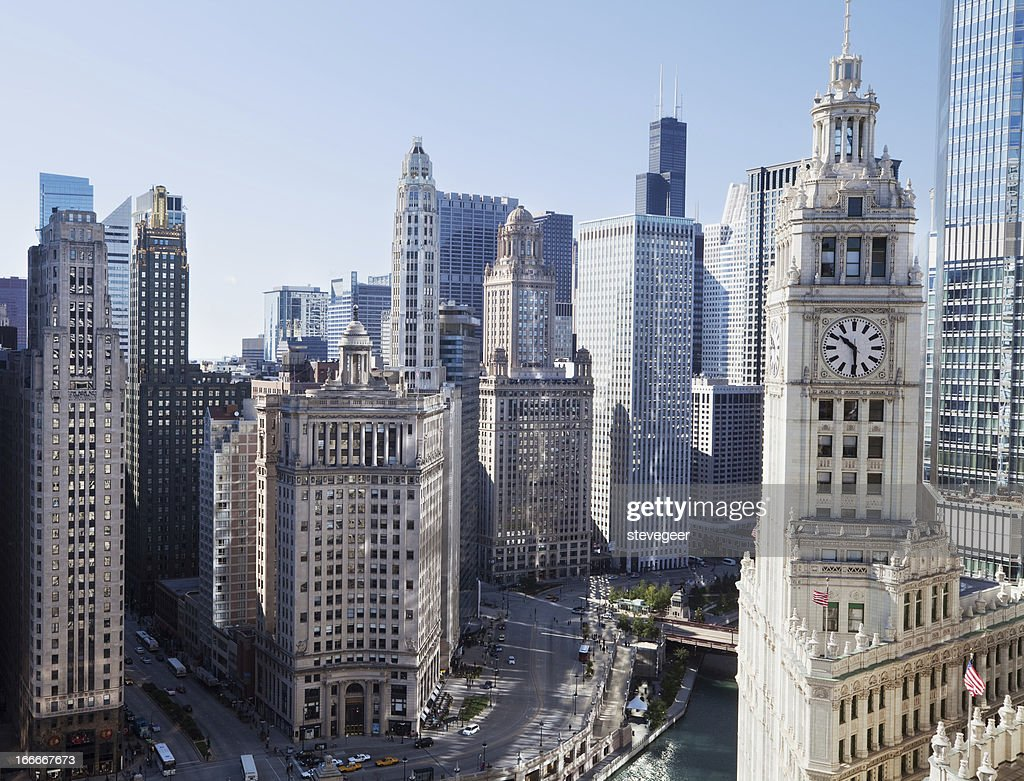 Chicago Skyscrapers on Wacker Drive in The Loop. : Stock Photo