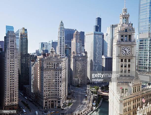Chicago Skyscrapers on Wacker Drive in The Loop.