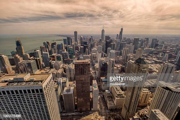 chicago south skyline at sunset - cook county illinois stock photos and pictures
