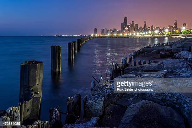 chicago sunrise from fullerton beach - fullerton california stock photos and pictures