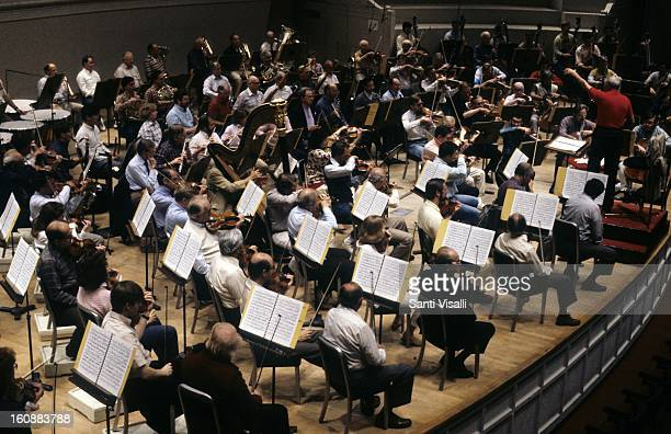 Chicago Symphony in rehearsal with Sir Georg Solti conducting on December 5,1986 in Chicago, Illinois.