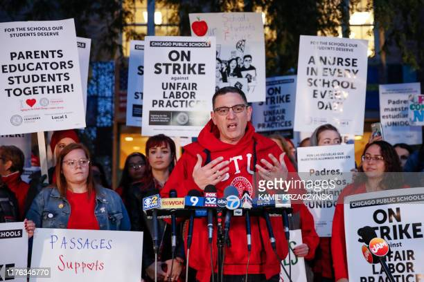 Chicago Teachers Union President Jesse Sharkey speaks outside Peirce Elementary School on the first day of a strike by the CTU, on October 17 2019 in...