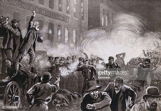 The Anarchist Riot in Chicago A dynamite bomb exploding among the police Drawing by T De Thulstrup after a painting by H Jeanneret 1886