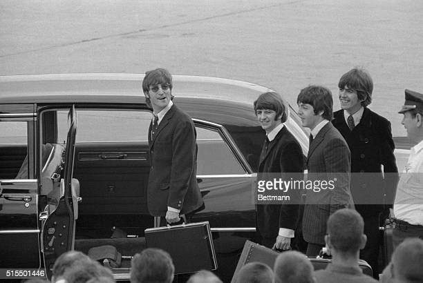 The Beatles John Lennon Ringo Starr Paul McCartney and George Harrison arrive here to start their third American tour with appearances starting...
