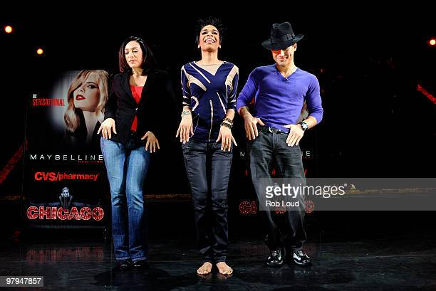"""Chicago The Musical"" dance captain Gabriela Garcia, Michelle Williams and Mario Lopez perform an impromptu dance routine at Maybelline New York's..."