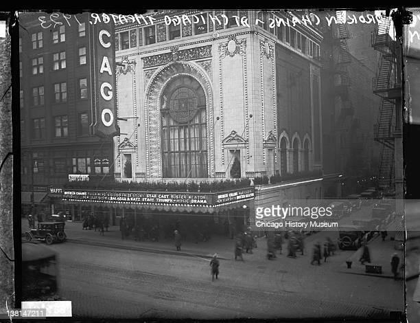 Chicago Theater at 171-175 North State Street while 'Broken Chains' is playing, Chicago, Illinois, 1923.