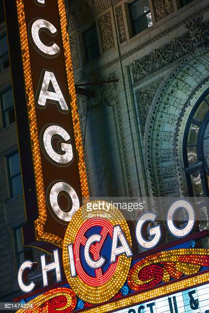 Chicago Theatre marquee at night.