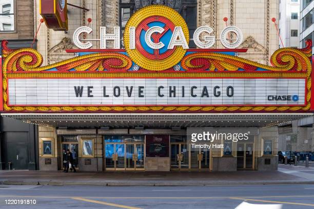 Chicago Theatre shows a sign due to COVID-19 pandemic on April 20, 2020 in Chicago, Illinois.