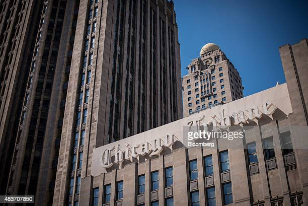 Chicago Tribune signage is displayed on the side of the Tribune Tower in Chicago Illinois US on Friday Aug 7 2015 Tribune Media Co is scheduled to...