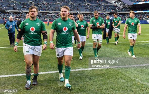 Chicago , United States - 3 November 2018; The Ireland team, led by Andrew Porter, left, and Finlay Bealham leave the field after the International...