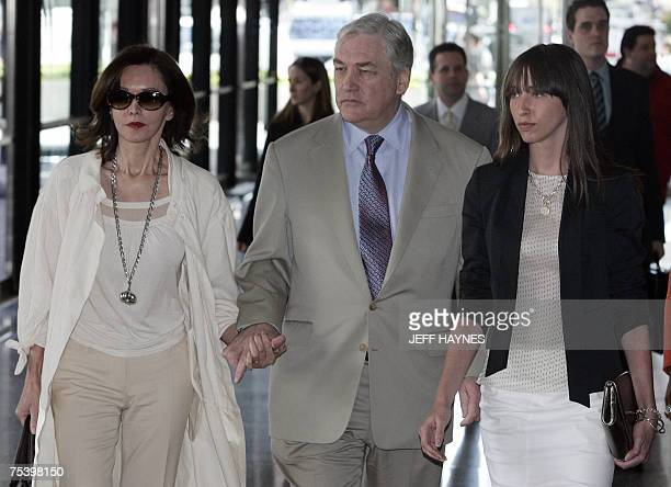 Deposed media tycoon Conrad Black leaves the Everett McKinley Dirksen Federal Courthouse in Chicago Illinois with his wife Barbara Amiel and daughter...