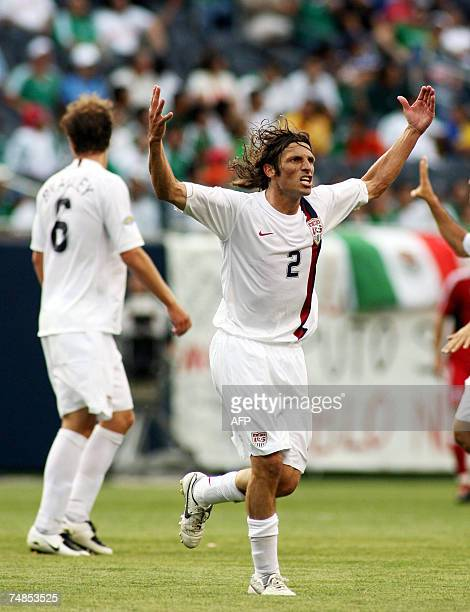 Frankie Hejduk of United States celebrates scoring a goal in the 39th minute of their CONCAF Gold Cup semifinal match against Canada 21 June 2007 at...