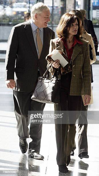 Media tycoon Conrad Black and his wife Barbara Amiel Black leave the US District Federal courthouse 19 March 2007 for opening arguments in his trial...