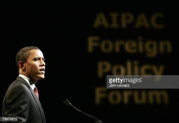 Presidential hopeful Senator Barack Obama DIL addresses the American Israeli Public Affairs Committee forum on Foreign Policy 02 March 2007 at the...