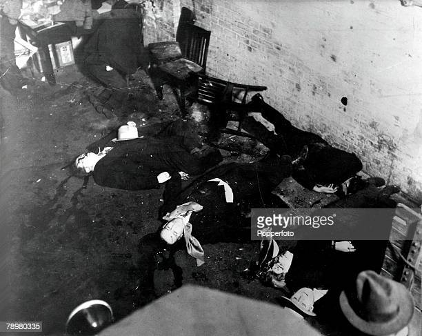 Chicago USA 14th February 1929 The scene inside the warehouse showing dead bodies riddled with bullets after the St Valentines Massacre a battle...