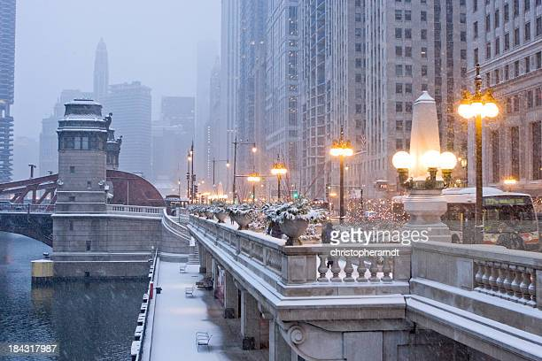 chicago wacker drive in winter - wacker drive stock photos and pictures