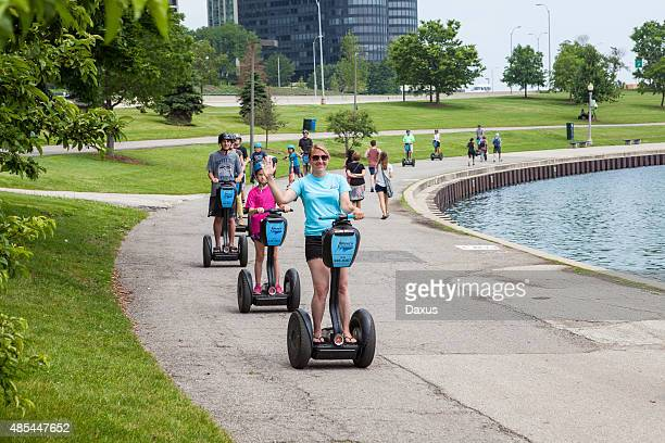 chicago waterfront tour - segway stock pictures, royalty-free photos & images