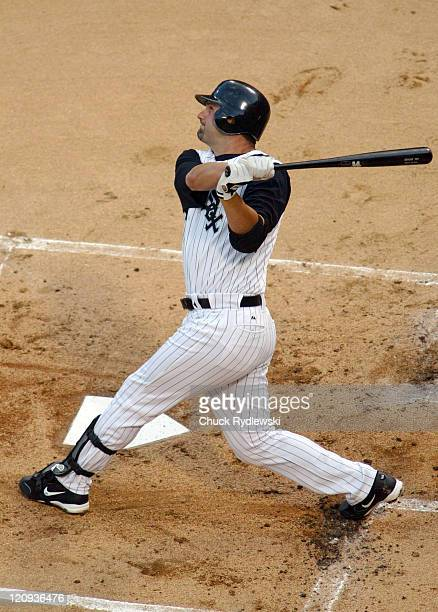 Chicago White Sox 1st Baseman, Paul Konerko, homers during the game against the Toronto Blue Jays August 2, 2005 at U.S. Cellular Field in Chicago,...