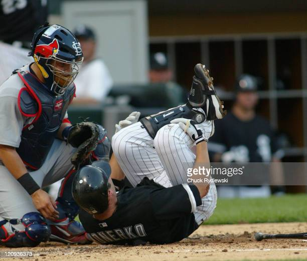 Chicago White Sox' 1st Baseman Paul Konerko rolls on the ground after fouling a ball off of his shin during their game against the St Louis Cardinals...