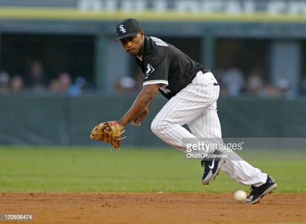 Chicago White Sox 2nd baseman, Willie Harris, can't flag down Jason Kendall's single during the game against the Oakland Athletics July 8, 2005 at...