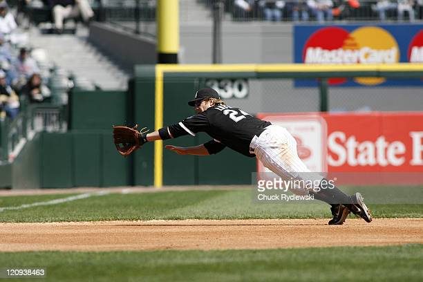 Chicago White Sox 3rd Baseman Joe Crede dives but can't come up with Jhonny Peralta's single during their game against the Cleveland Indians April 5...