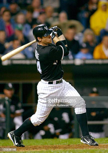 Chicago White Sox 3rd Baseman, Joe Crede, singles during the game against the Minnesota Twins September 22, 2005 at U.S. Cellular Field in Chicago,...