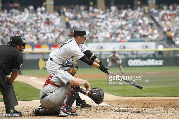 Chicago White Sox' 3rd Baseman Joe Crede singles in AJ Pierzynski during the game against the Minnesota Twins July 26 2006 at US Cellular Field in...
