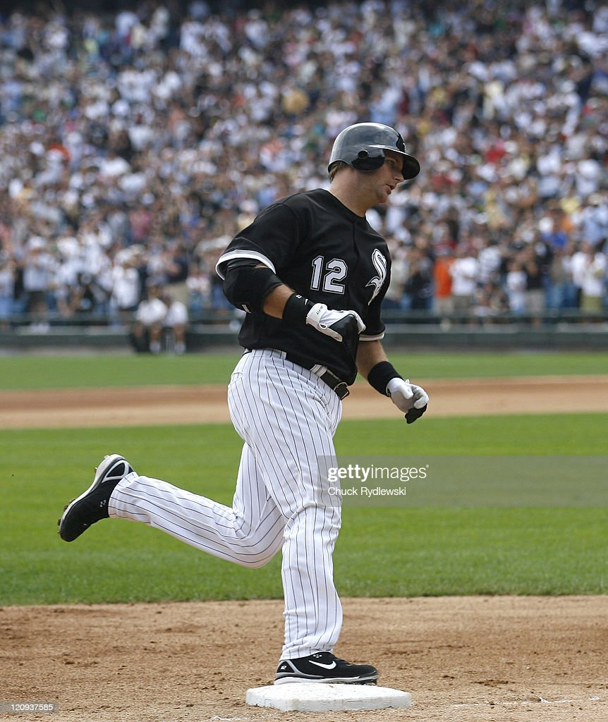 Chicago White Sox' catcher, A.J. Pierzynski, rounds the bases after hitting a two-run homer in the 5th inning during their game against the Minnesota Twins August 27, 2006 at U.S. Cellular Field in Chicago, Illinois. The White Sox defeated the Twins 6-1.