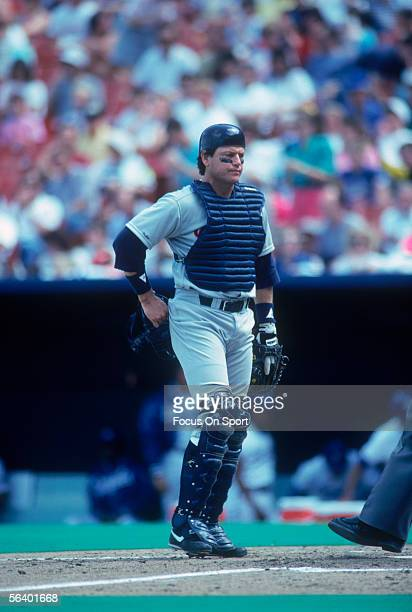 Chicago White Sox' catcher Carlton Fisk walks near home base during a game against the Kansas City Royals at Royals Stadium on May 6, 1990 in Kansas...