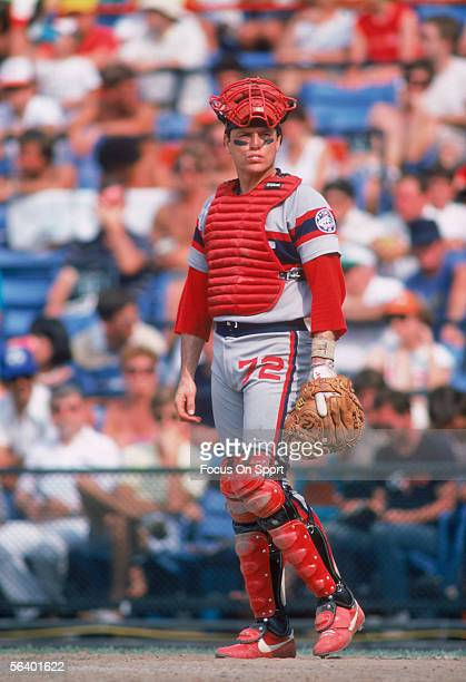 Chicago White Sox' catcher Carlton Fisk watches the action on the field during a game against the Baltimore Orioles at Memorial Stadium circa the...