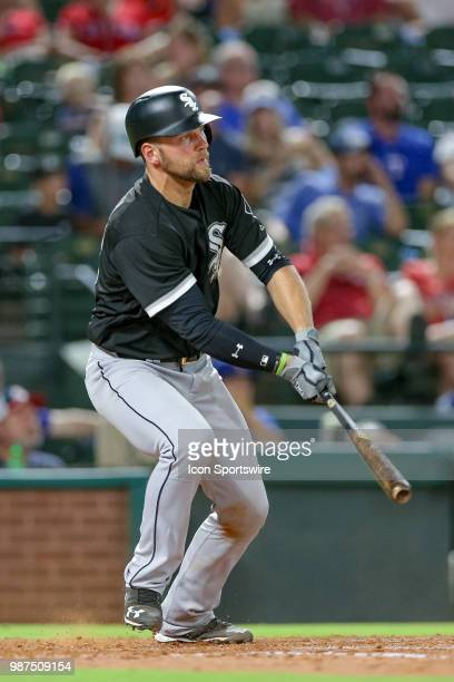Chicago White Sox Catcher Kevan Smith gets a hit during the game between the Chicago White Sox and Texas Rangers on June 29 2018 at Globe Life Park...