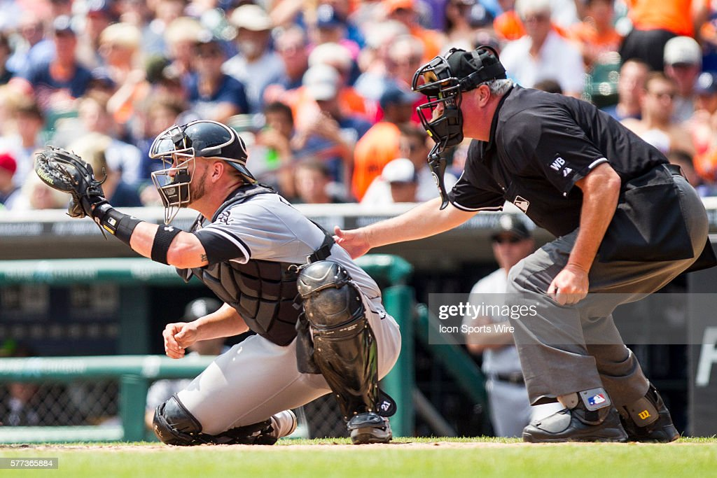 Chicago White Sox Catcher Tyler Flowers And Home Plate Umpire Tim