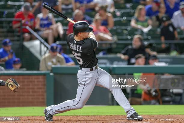 Chicago White Sox Center field Adam Engel hits a double during the game between the Chicago White Sox and Texas Rangers on June 29 2018 at Globe Life...
