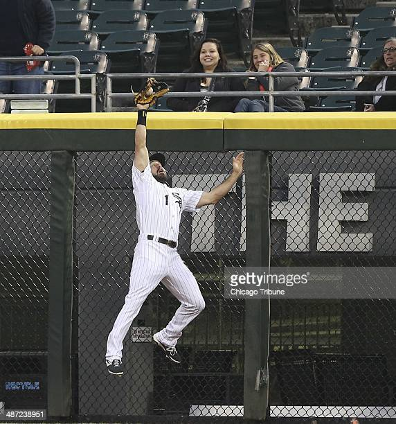 Chicago White Sox center fielder Adam Eaton makes a catch on the sacrifice fly by Tampa Bay Rays left fielder Matt Joyce in the first inning at US...