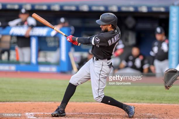 Chicago White Sox center fielder Billy Hamilton doubles to right field during the third inning of the Major League Baseball game between the Chicago...