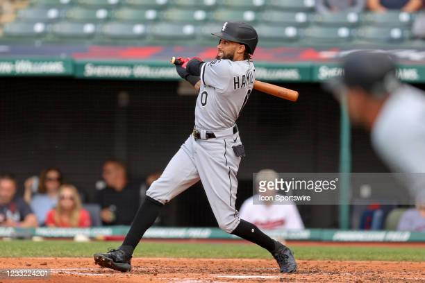 Chicago White Sox center fielder Billy Hamilton doubles to the wall to drive in a run during the second inning of the Major League Baseball game...