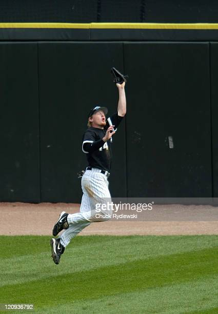 Chicago White Sox' Center Fielder Brian Anderson makes a leaping grab during their game against the Tampa Bay Devil Rays August 31 2006 at US...