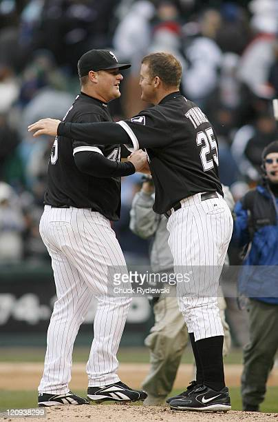 Chicago White Sox' Closer Bobby Jenks is congratulated by teammate Jim Thome after closing out their game against the Minnesota Twins April 7 2007 at...