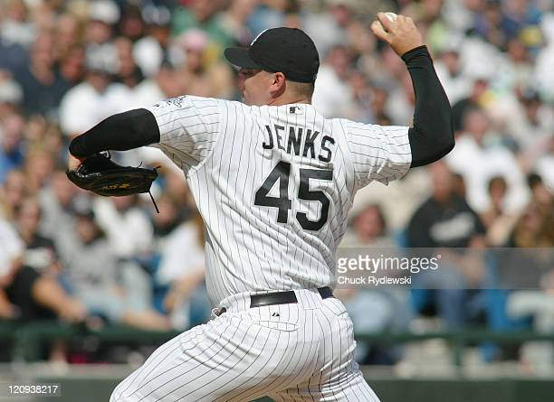 Chicago White Sox' Closer Bobby Jenks pitches during their game against the Toronto Blue Jays April 15 2006 at US Cellular Field in Chicago Illinois...