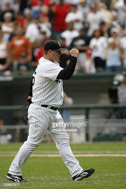 Chicago White Sox' Closer Bobby Jenks pumps his fist after closing out their Interleague game versus the Houston Astros June 10 2007 at US Cellular...