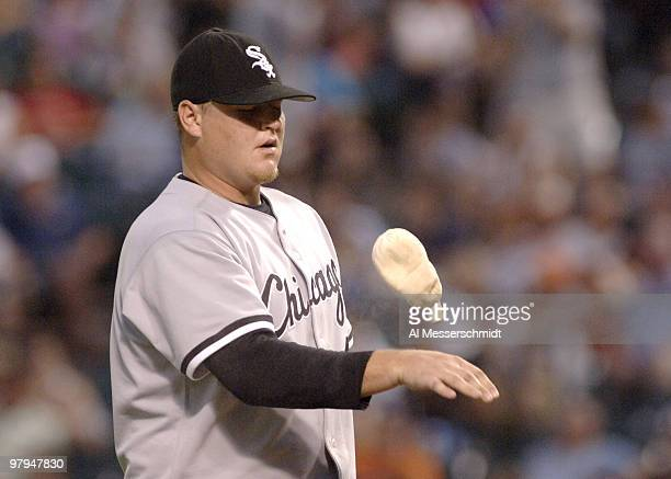 Chicago White Sox closer Bobby Jenks tosses the rosin bag against the Baltimore Orioles July 29 2006 in Baltimore The Sox won 13 11 Jenks was...