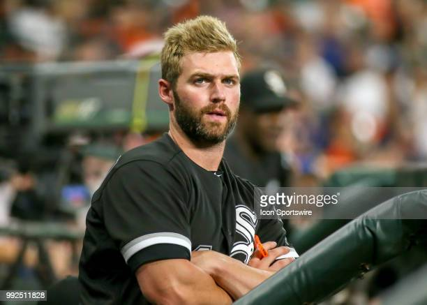 Chicago White Sox designated hitter Matt Davidson is in the visitors' dugout during the baseball game between the Chicago White Sox and Houston...